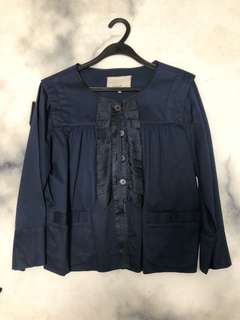 Navy blouse w pockets