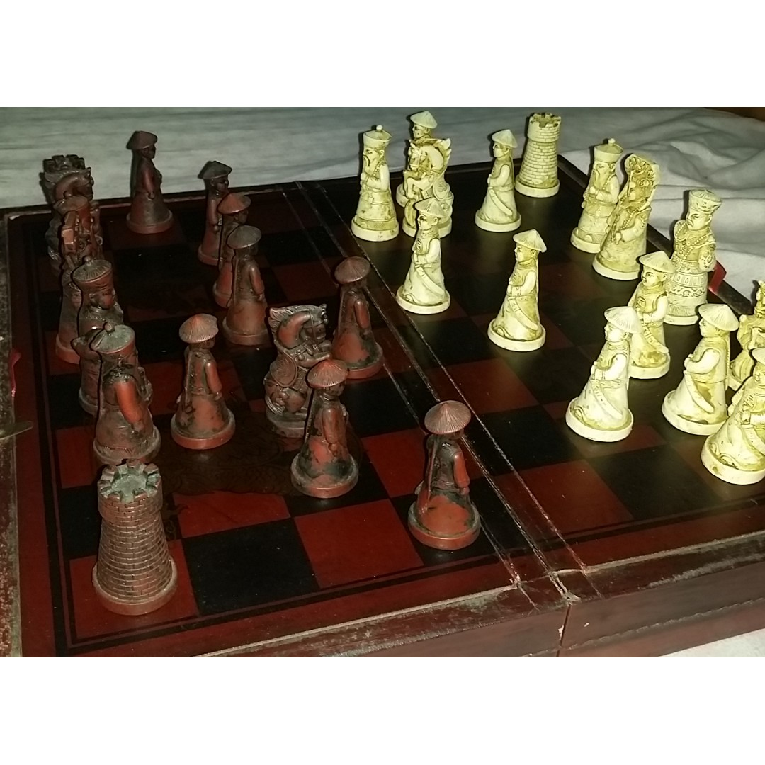 Antique Chinese Chess Set Vintage