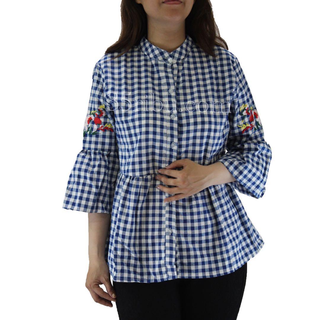 ... Home Baju Kemeja Pria Kemeja Lengan Panjang Navy Mix Batik Rajut Page 4