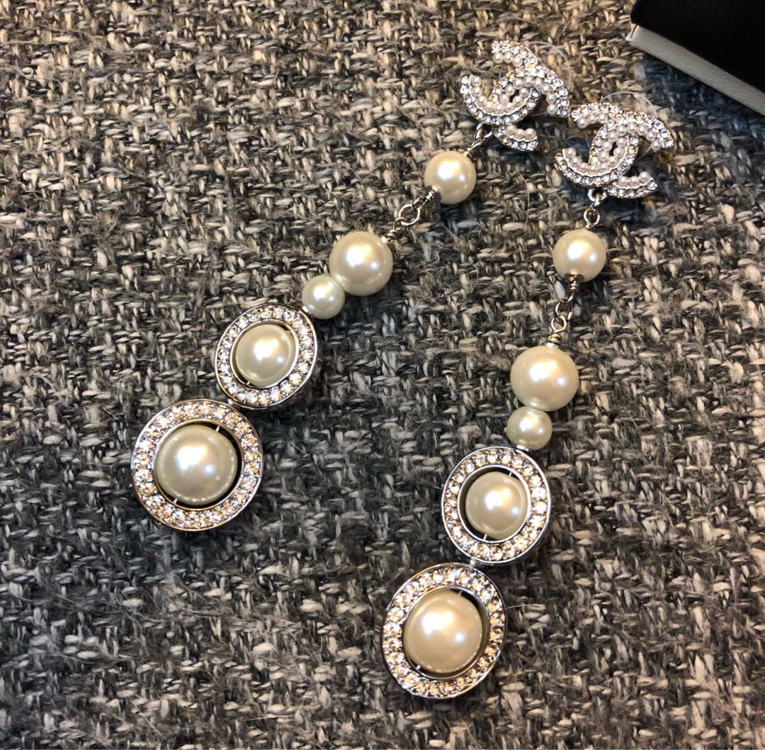 Authentic Chanel crystal dangling pearl earrings