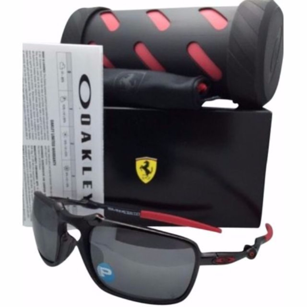 f734c060e1 Authentic Polarized Scuderia FERRARI OAKLEY Sunglasses BADMAN OO6020-07  Carbon   Red Frame w Black Iridium