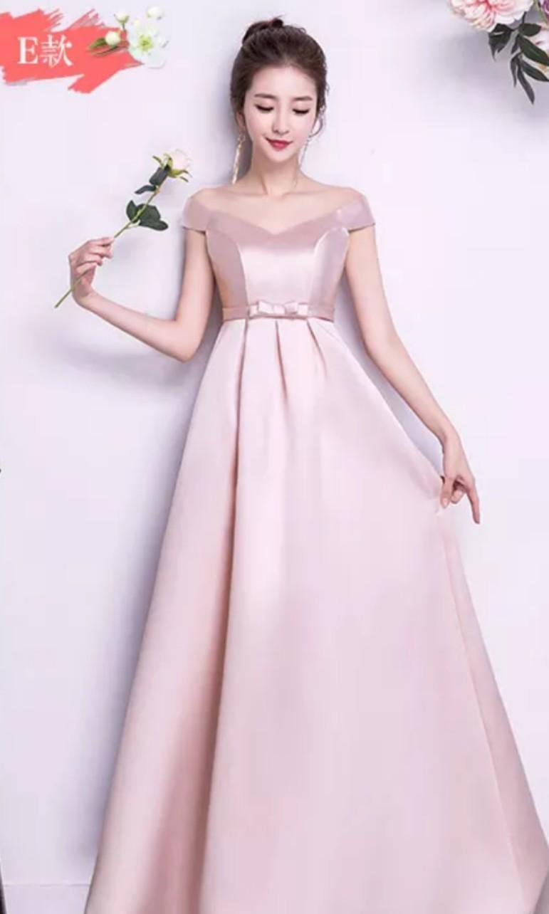 9223378fb5 BN Pastel Pink Off Shoulder Long Satin Dress