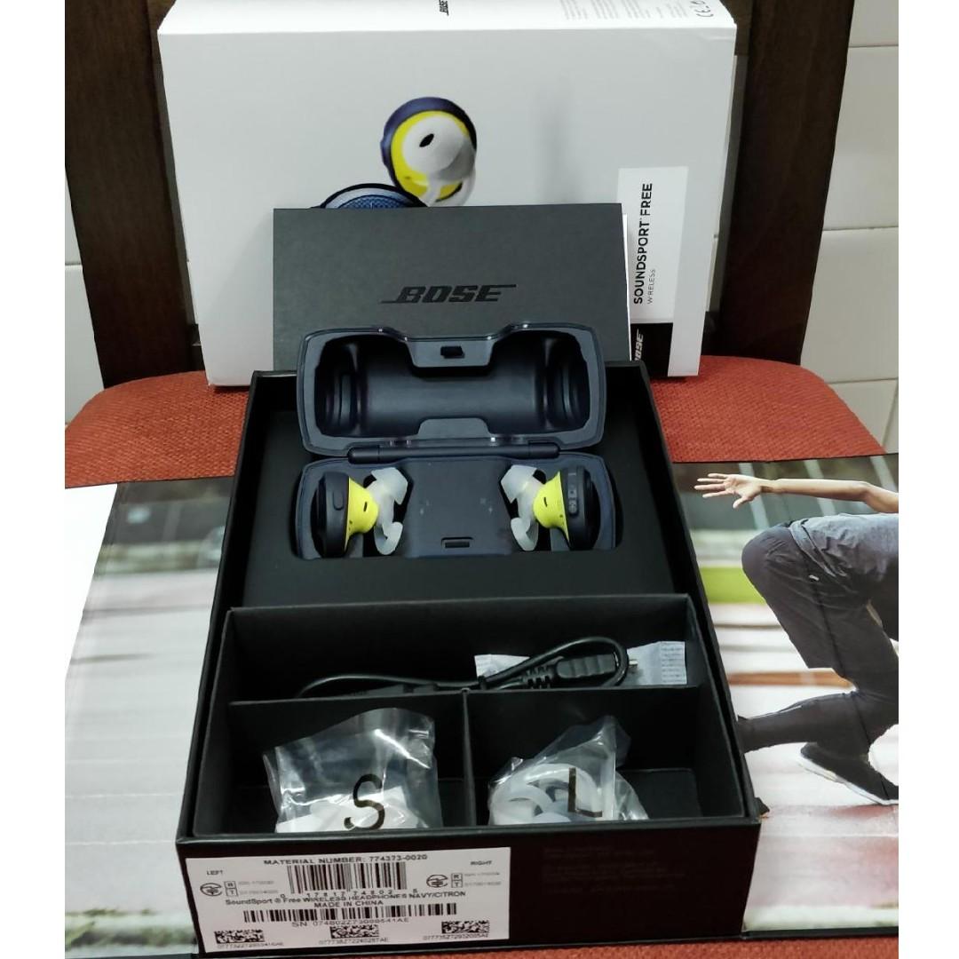 Bose Soundsport Free Truly Wireless Sport Headphones Midnight Blue Earphone Navy Citron Electronics Audio On Carousell
