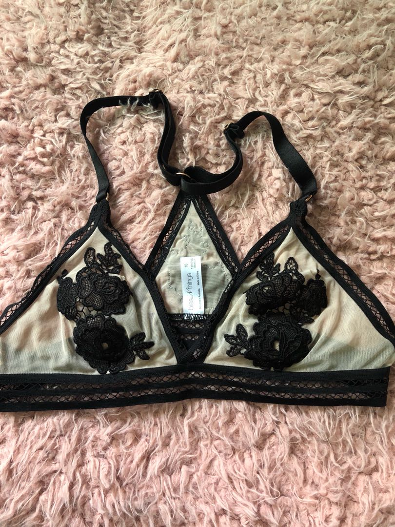 Brasnthings rose mesh bralette