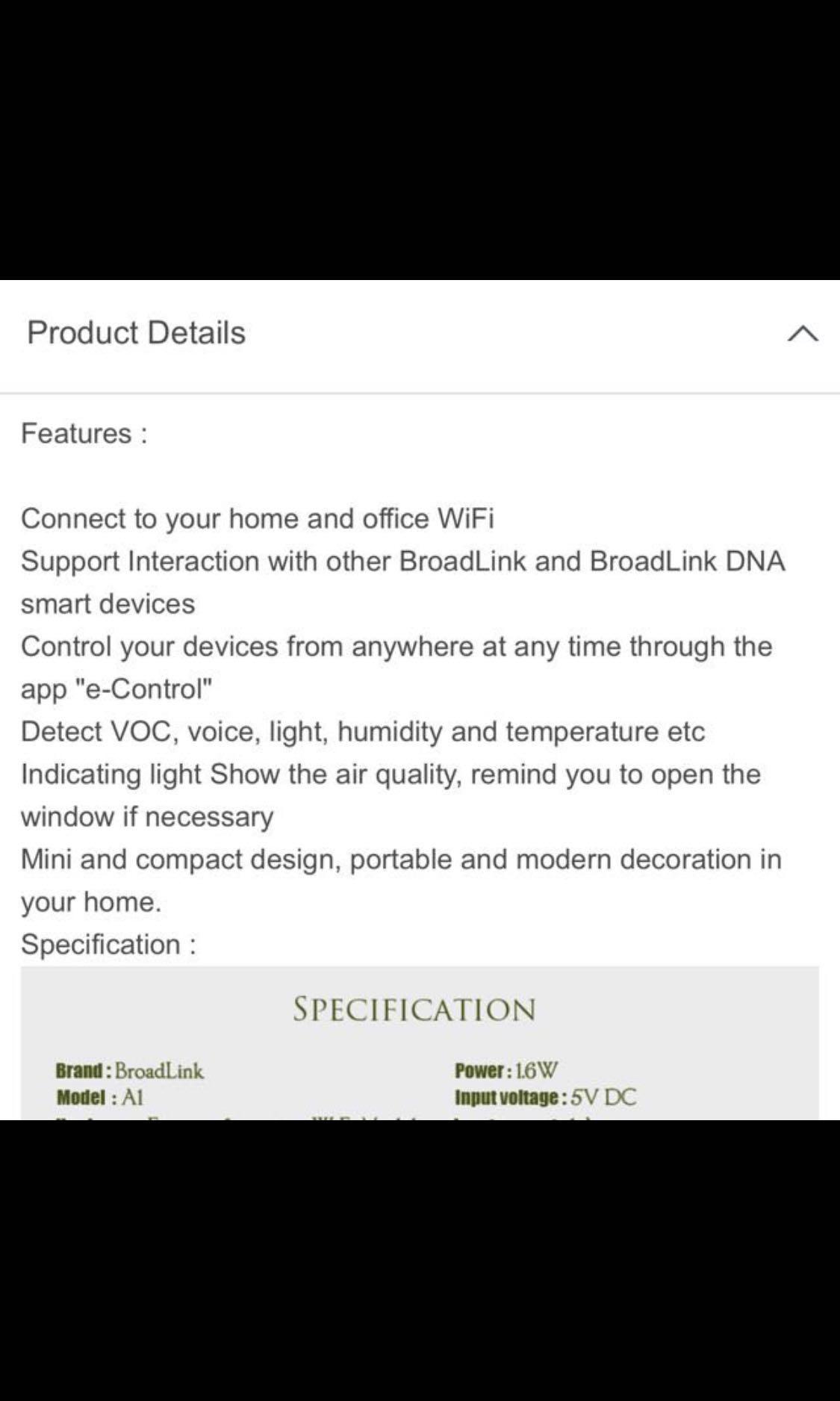 BroadLink A1 White WiFi Intelligent Smart Home Air Detector Sensor Purifier  Remote Control