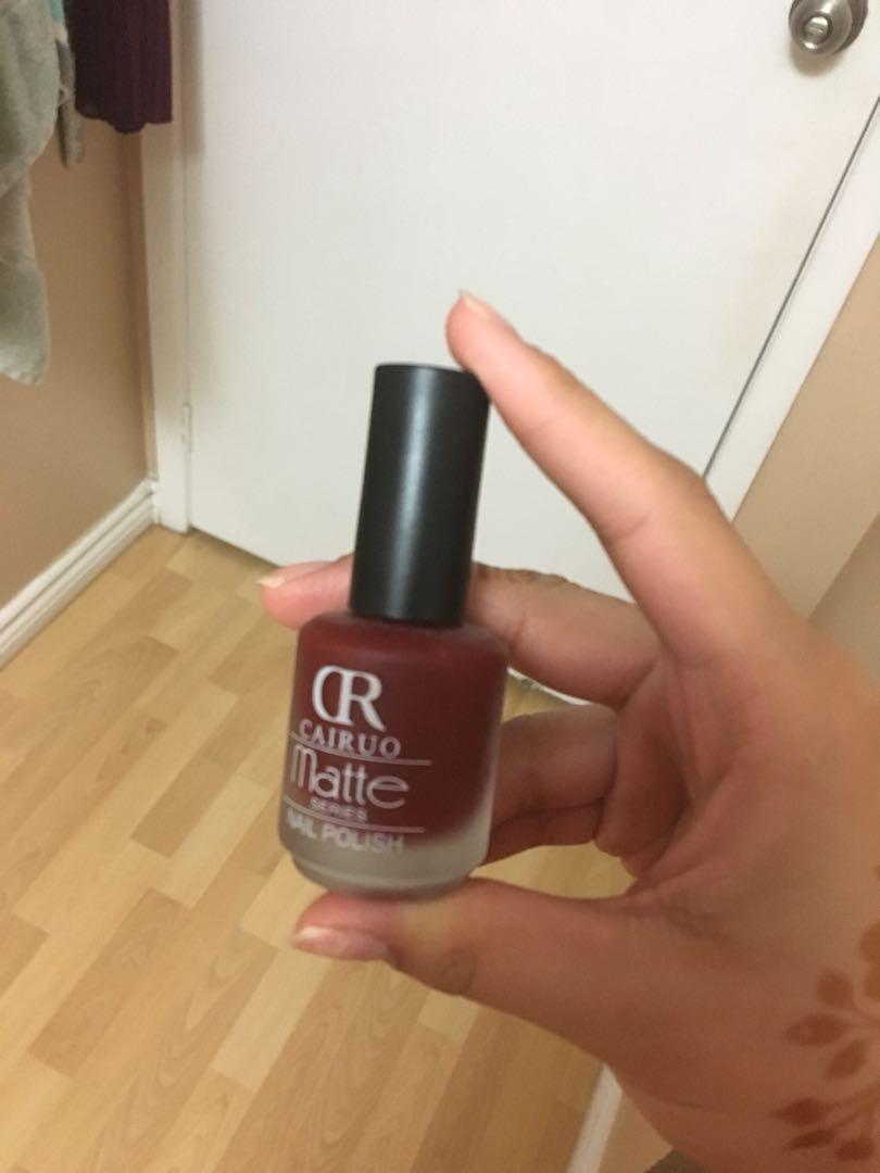 Burgundy matte nail polish