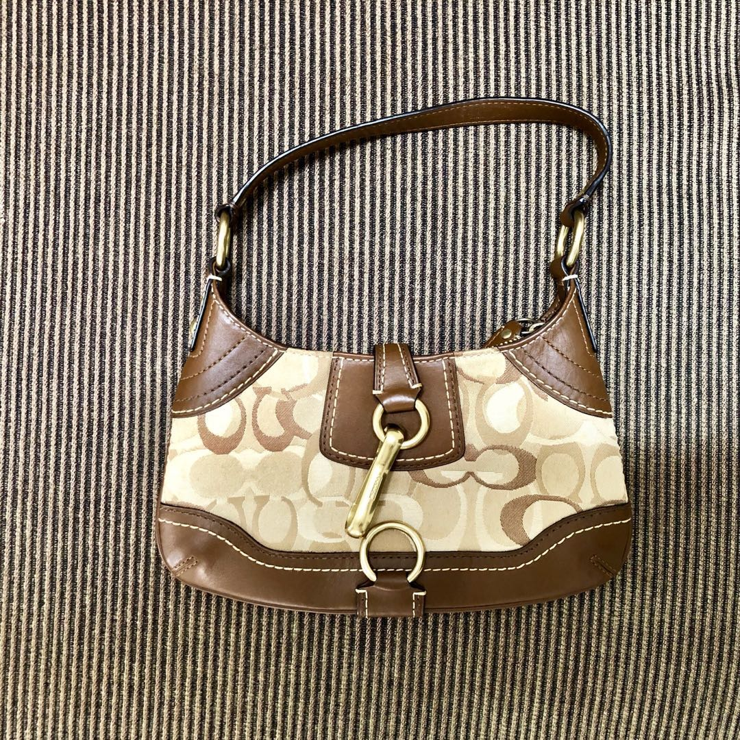 a5b823209b COACH Small Brown Signature Monogram Jacquard Shoulder Bag