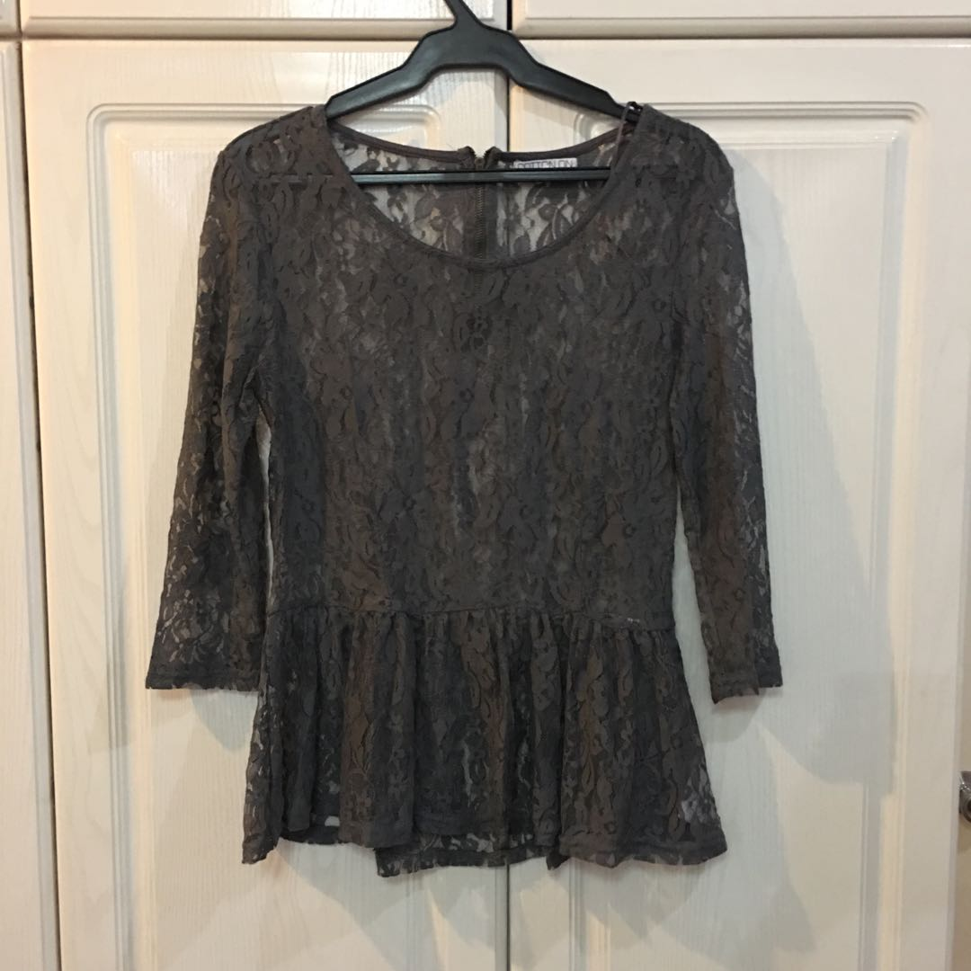 Cotton On Long Sleeve Lace Peplum Top