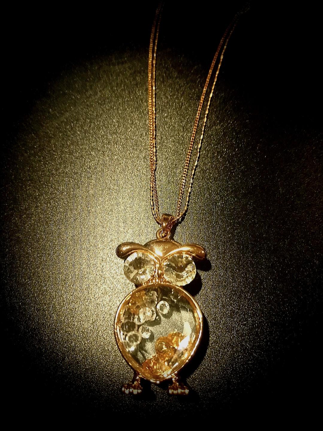Crystal Golden Owl Necklace