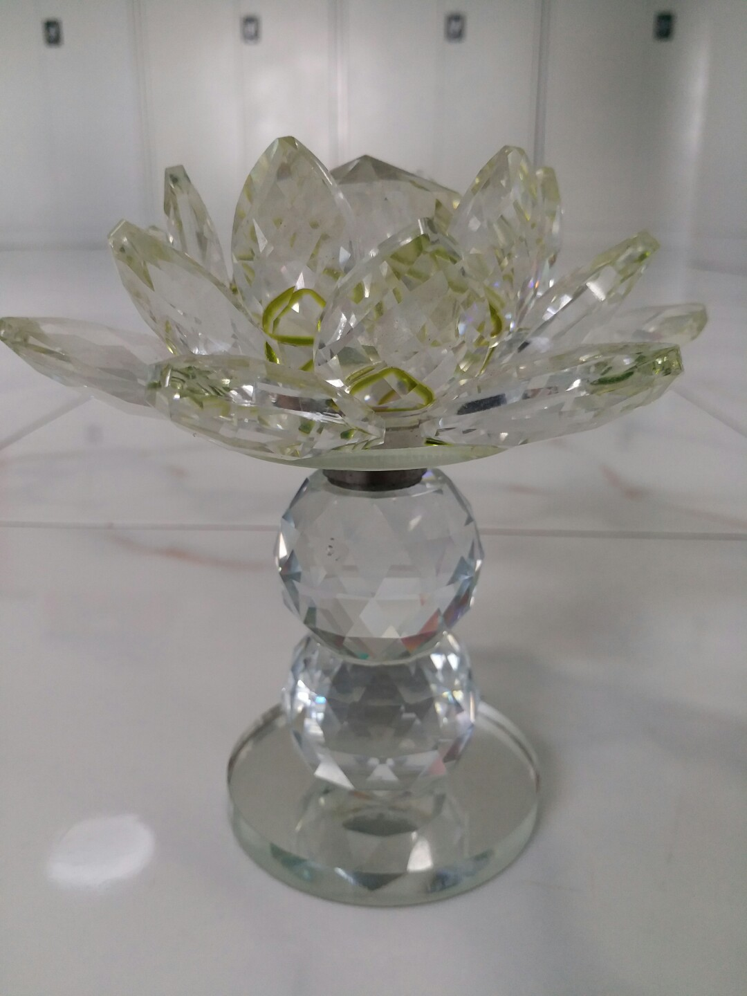 Glass Crystal Lotus Flower W Revolving Stand Furniture Home Decor