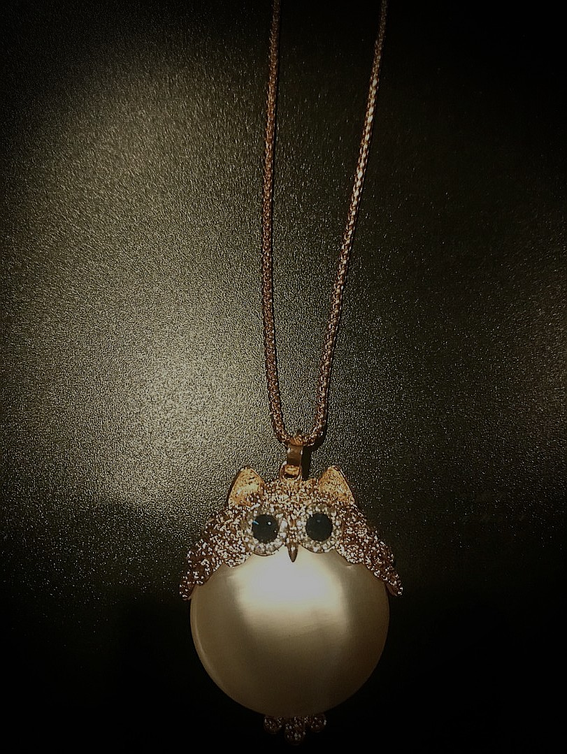 Golden White Owlette Necklace