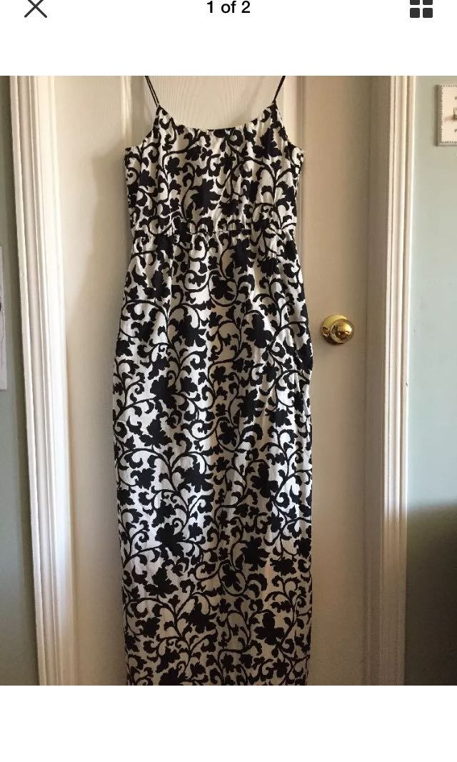 J. Crew women's black/white fully lined maxi dress size 4 (S – M)