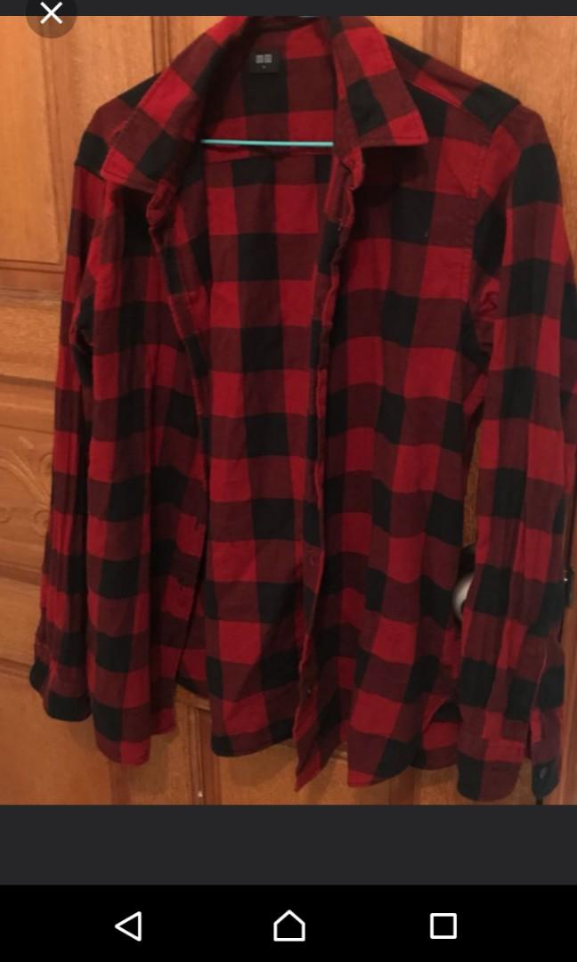 優尼褲紅黑襯衫M號