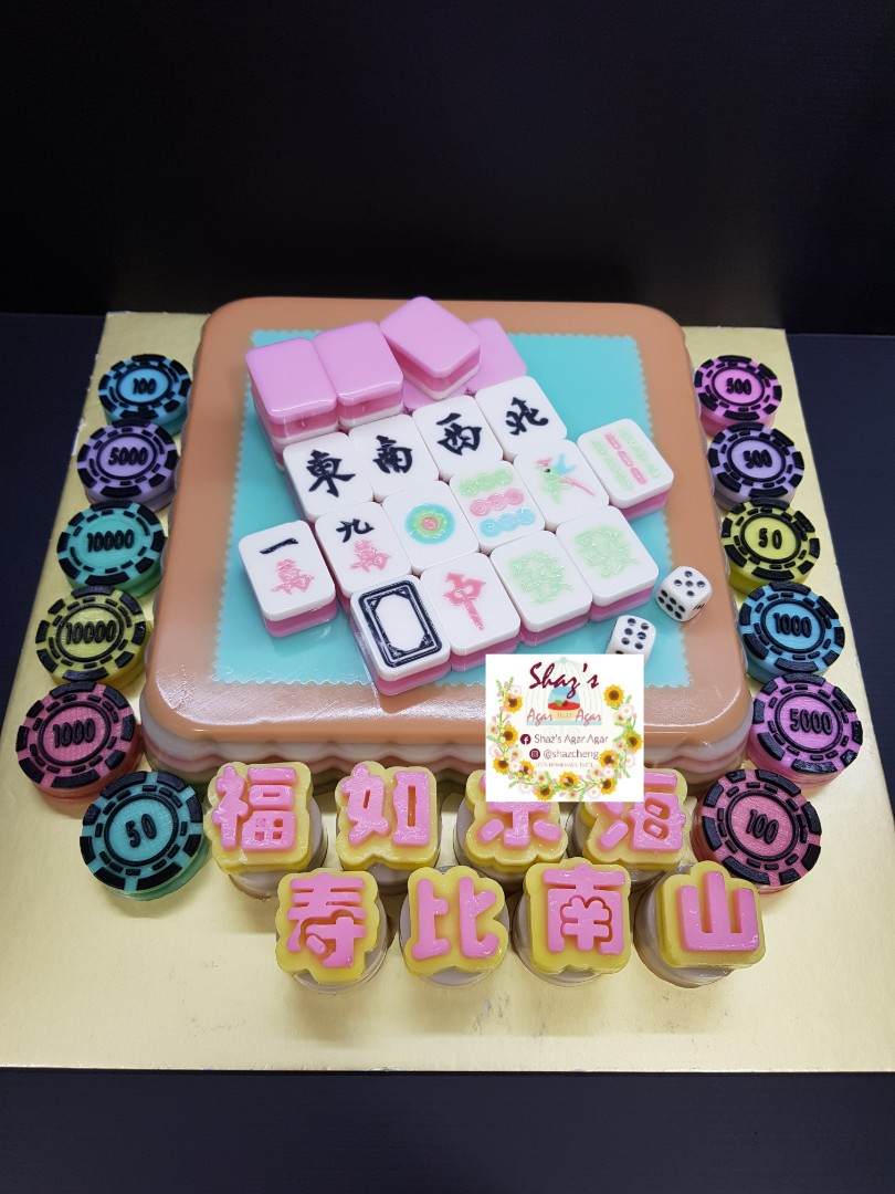 Mahjong Theme Jelly Agar Birthday Cake Pm For Pricing Food