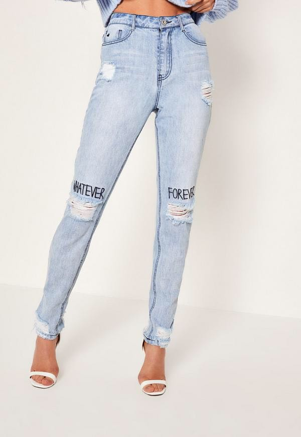 "MISSGUIDED ""Whatever Forever"" Blue High Waisted Straight Leg Jean (Size 2) Never Worn"