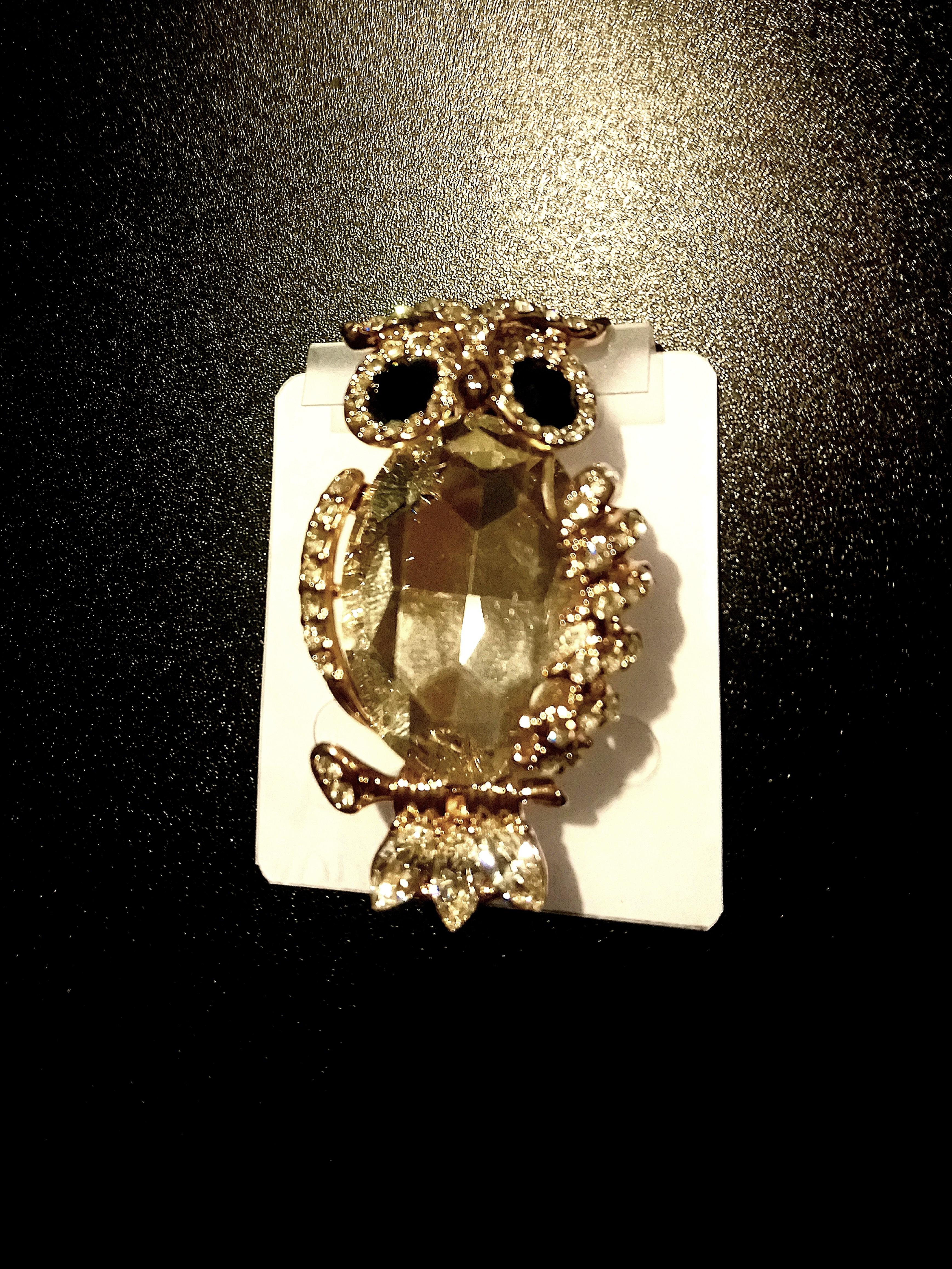 Owl Gold B&W Brooch clothing pin