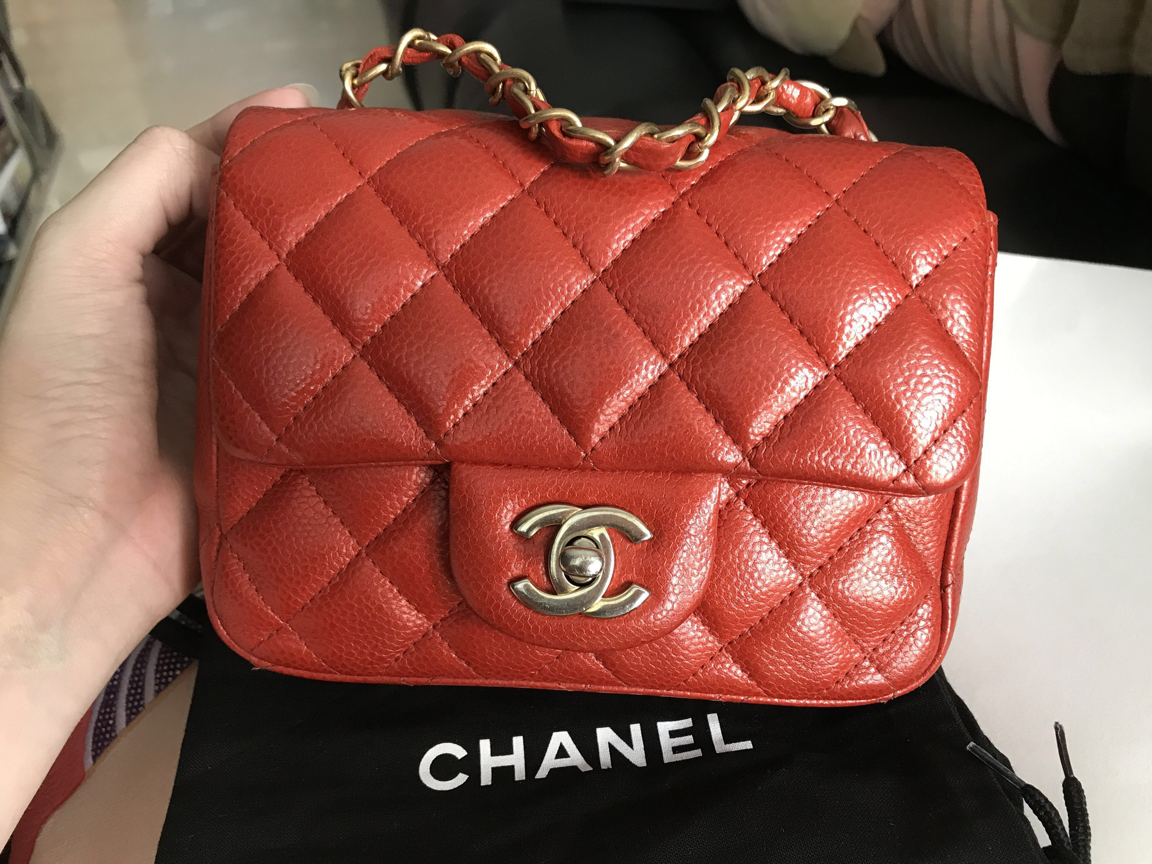 8d55934adfbf36 Preloved Chanel Mini Square Red Coral Caviar VGhw #20, Luxury, Bags &  Wallets on Carousell