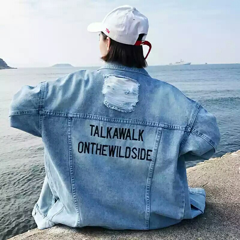 Ready stoxk oversize Denim Jacket Korean long sleeve with embroidery letters jacket for student female