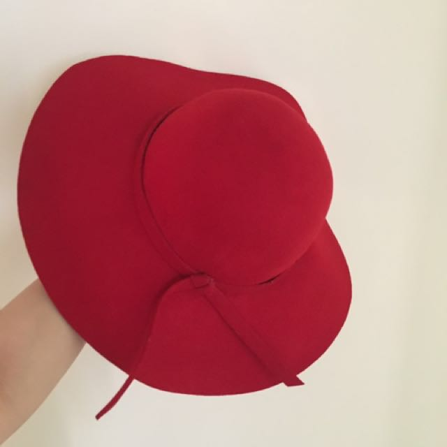 Red floppy hat pure wool 89f62c26740f