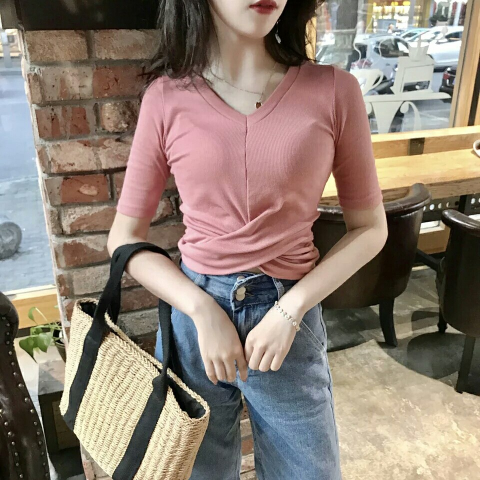 Short-sleeved t-shirt female casual top /sexy tight v neck Long sleeves hirt