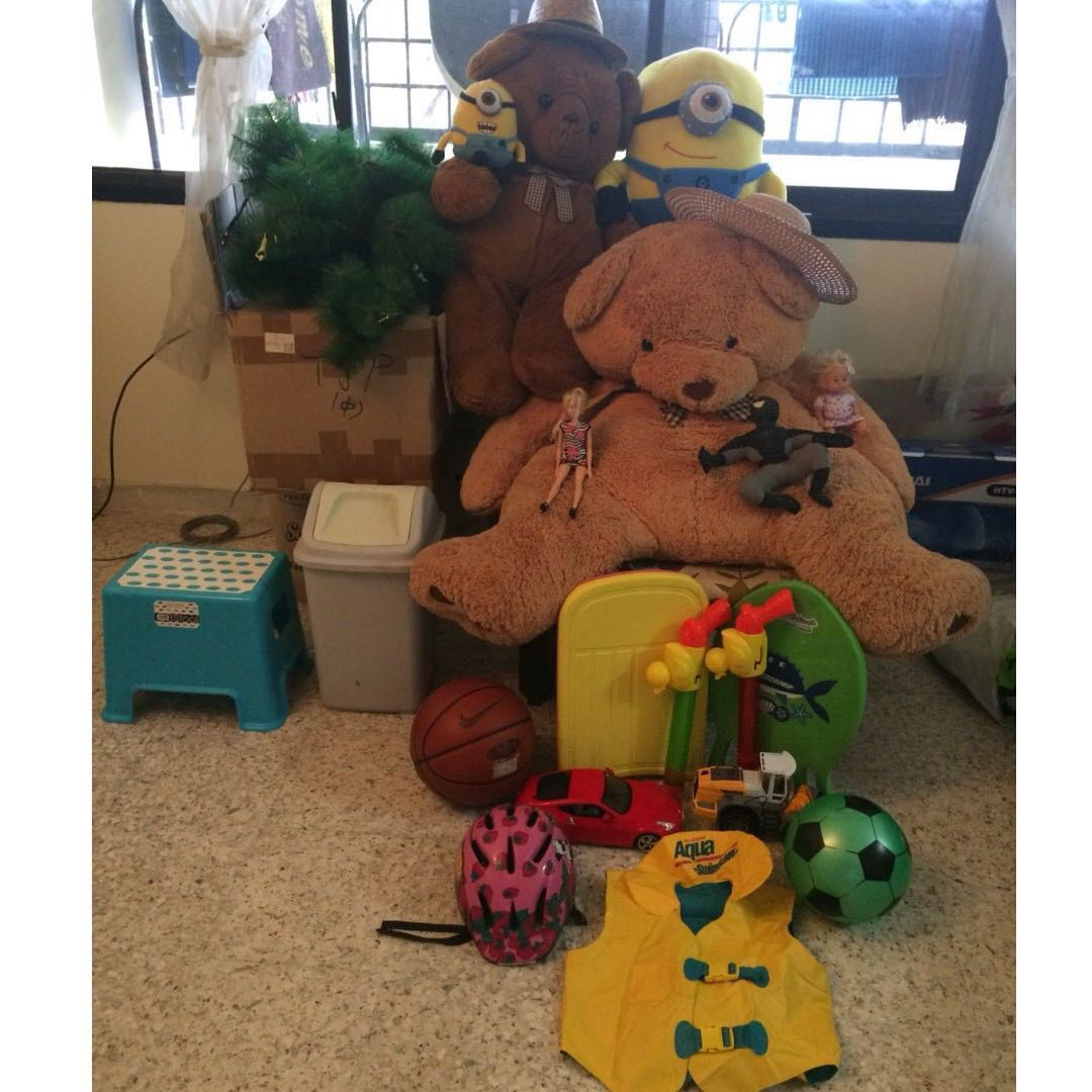 Stuffed toys-bears (1 lifesize), Minions, Spiderman, Barbie Dolls ...