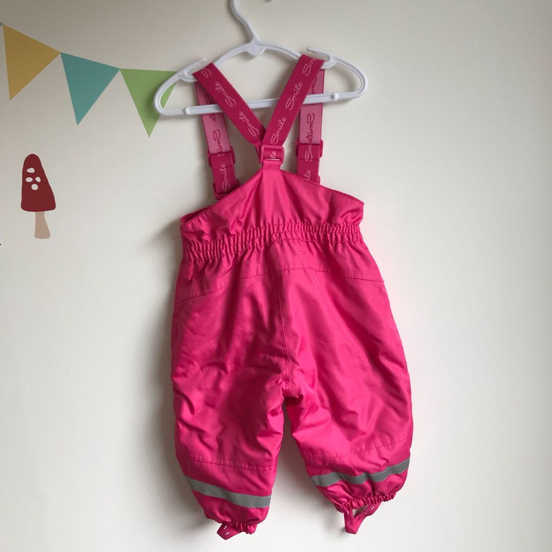 Toddler Girl Pink Ski Pants with Suspenders - size 74
