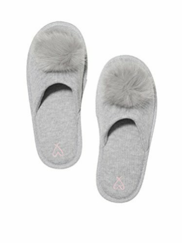 894148f732a Victoria s secret pom pom slippers grey Bedroom Slippers Large ...