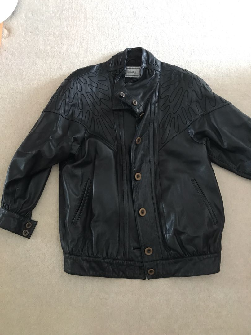 Vintage genuine leather oversized jacket black with details