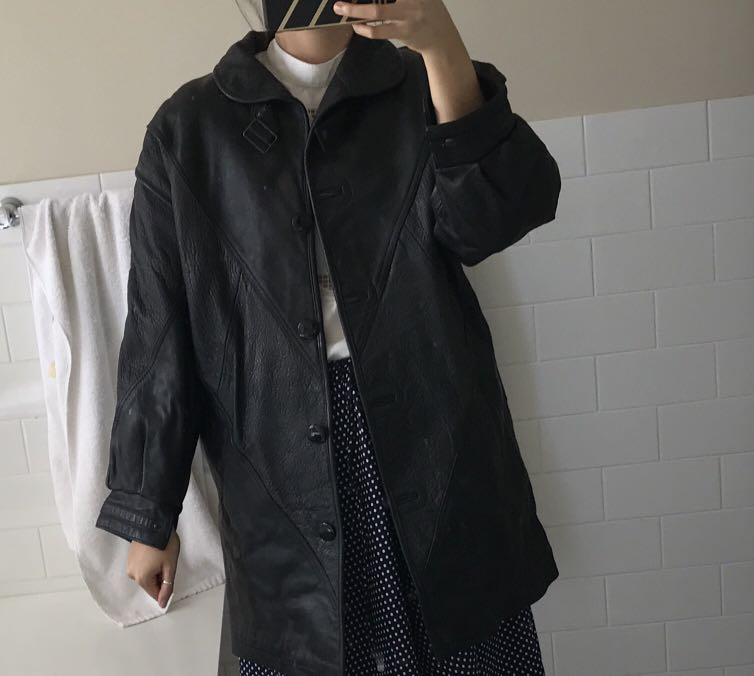 Vintage Italian leather black overcoat Long jacket