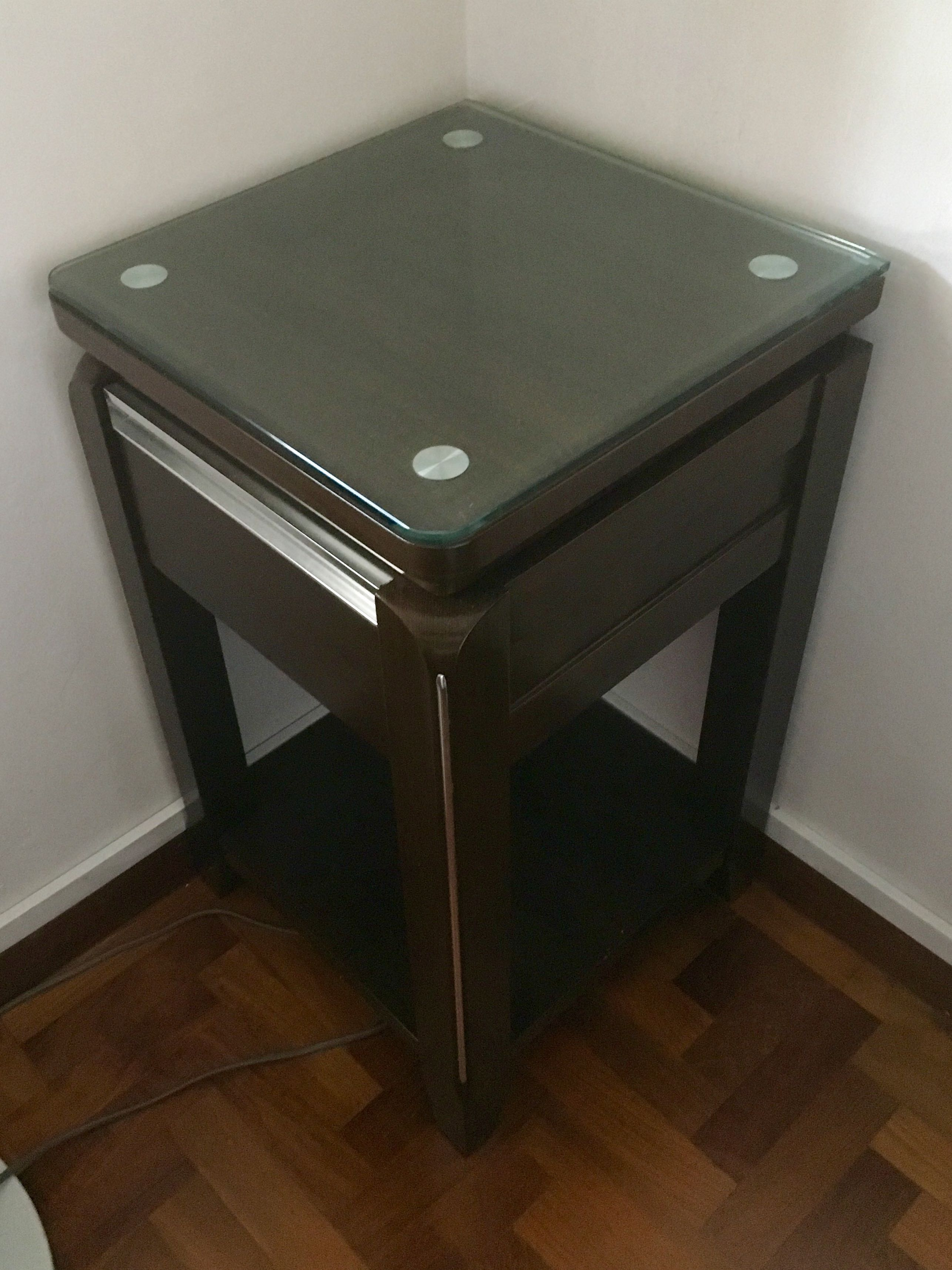 Wood Bedside Table w/ Glass Top