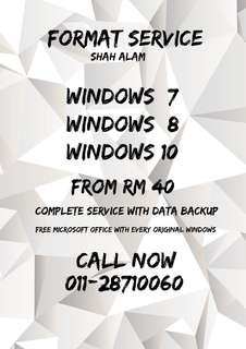 FULL FORMAT SERVICE WITH DATA BACKUP