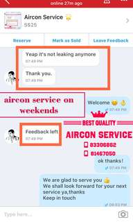 Aircon service on weekends