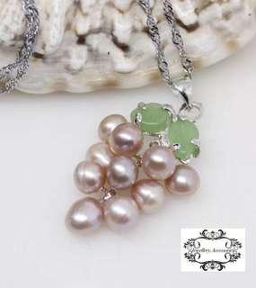 Genuine Akoya Pearl Jade Leaf Grape Motif Pendant  真Akoya珍珠綠翡翠玉石葡萄垂吊吊嘴