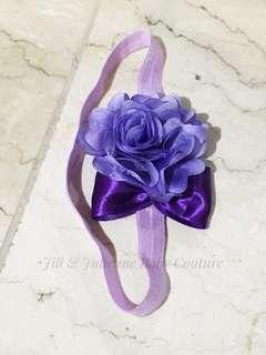Flower and ribbon baby headband
