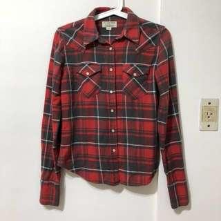 Polo Ralph Lauren 紅色格紋手肘造型拼接長袖襯衫
