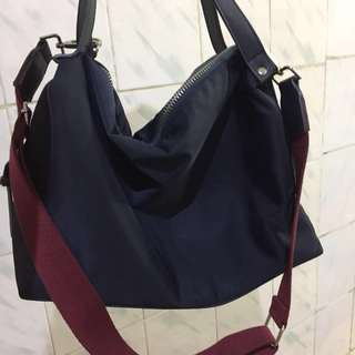 Zara Navy Bowling Bag with Contrasting Handle