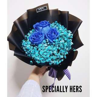 Blue Rose Bouquet ( Royal Blue )