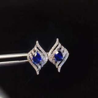 天然寶石天然皇家藍藍寶石耳釘! sapphire earring