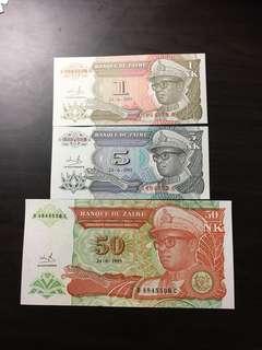 Zaire 1/5/50 Makuta 1993 Pick 51 UNC Mobutu note set
