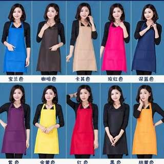 (hinyinbb)韓版时尚防水工作服圍裙,厨房圍腰裙(深藍,紫及玫红選擇)