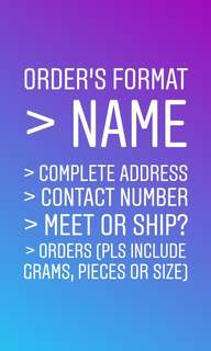 Order's format. Please use this for faster transaction