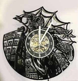 Spiderman Vinyl Record Wall Clock Lamp
