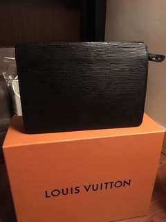Authentic Louis Vuitton Pochette Homme Black Epi Clutch