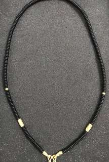 Micron Gold Plated Coconut Husk Bead Necklace. (New)