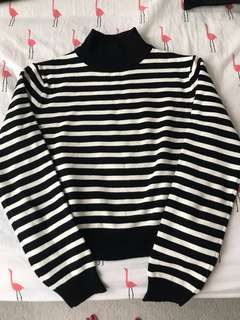 Zara cropped mock neck knit sweater