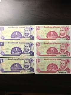 NICARAGUA 1 &5 Centavo Banknote World Paper Money UNC