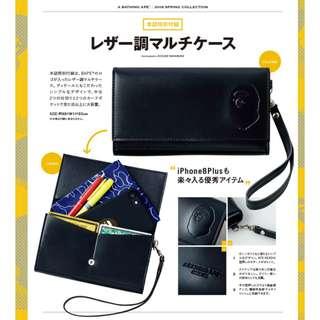 日本雜誌 A BATHING APE 附贈 猿人 黑色 PU皮 收納包 小物包 手機包 街頭潮牌 mook BAPE