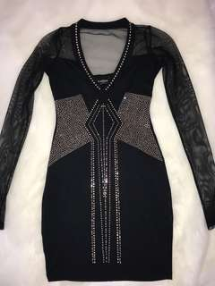 Black Mini Dress Jewel Encrusted with Mesh Paneling (SIZE XS)