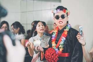 結婚 兄弟造型 玩新郎 粗嘴唇 大嘴巴 草裙套裝