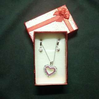 Heart shaped necklace and earring